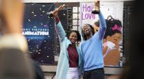 """Hair Love"" producer Karen Rupert Toliver and director Matthew A. Cherry celebrate the short film's Academy Award® win with their colleagues at Sony Pictures Animation"