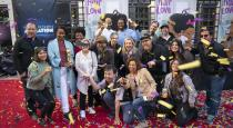 "Members of the team behind ""Hair Love"" celebrate the Oscar® win with director Matthew A. Cherry and producer Karen Rupert Toliver"